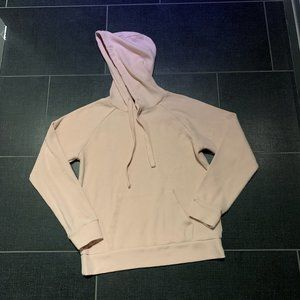 Forever 21 Light Pink Waffle-Knit Pullover Hoodie